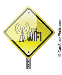 free wifi yellow diamond sign illustration