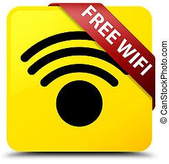 Free wifi yellow square button red ribbon in corner
