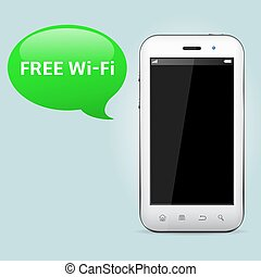 Free wifi zone. Smartphone with speech bubble.
