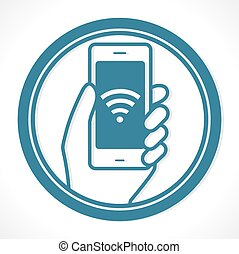 Free wireless network - hot spot concept - mobile phone...