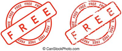 free word red stamp