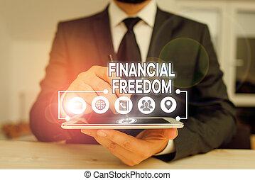 freedom., écriture main, photo, texte, sans, projection, sur, conceptuel, faire, grand, vie, financier, être, accentué, argent., décisions, business