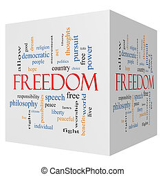 Freedom 3D Cube Word Cloud Concept