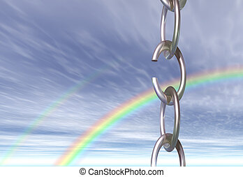 Freedom - A chain with a broken link, seen against the sky ...