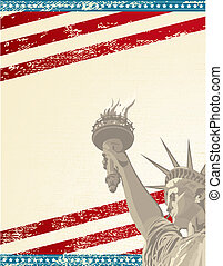 A grunge poster with the statue of liberty