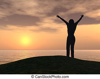 Freedom. A silhouette of the woman on coast. Ocean and ...