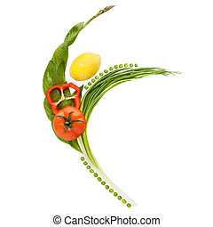 Freedom and grace. - Vegetables and fruits arranged in a...