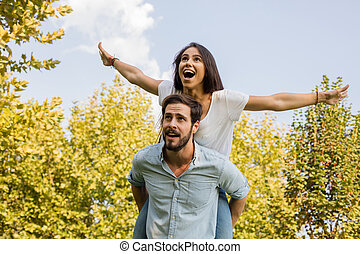 freedom and love concept with a young couple