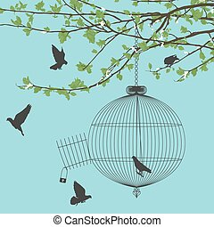 Freedom birds - Vintage card with birds and open birdcage