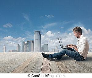 Freedom boy working outdoor