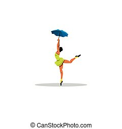 Freedom. Cheerful girl dancing with an umbrella sign. Vector Illustration.