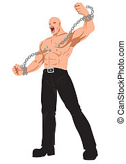 Freedom - Stock vector of a man breaking chain