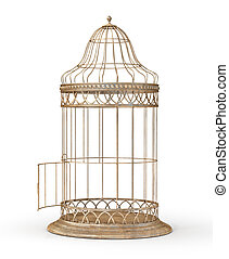Freedom concept. Open cage isolated on a white. 3d illustration