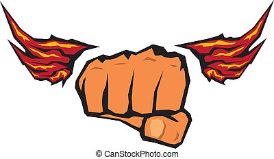 fist silhouette with wings.