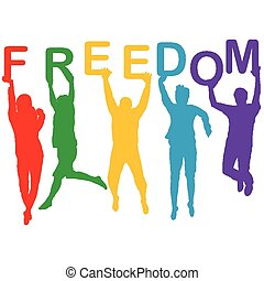 Freedom concept with people jumping silhouettes