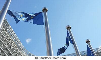 Freedom EU flags flying at European Commission in celeste...