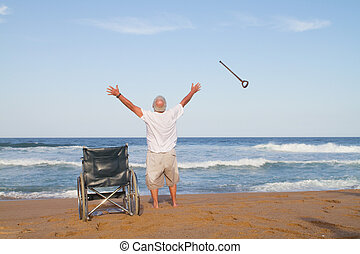 freedom from illness - a senior man throwing his cane into...