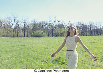 freedom girl in a meadow