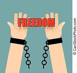 Freedom. Hands in shackles. Broken chain. Broken handcuffs. Palm keep text.