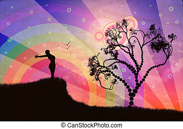 Freedom illustration - Silhouette of a woman relaxing on a...