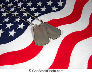 Military dog tags on flag.