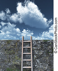 freedom - ladder on wall in front of cloudy sky - 3d ...