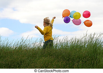 Freedom - Little gilr playing with balloons