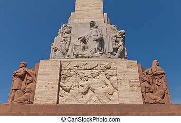 Freedom Monument in Riga, Latvia (fragment) - Right side of ...