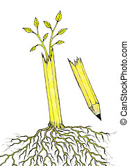 Freedom of speech - Hand drawn illustration of a pencil tree...