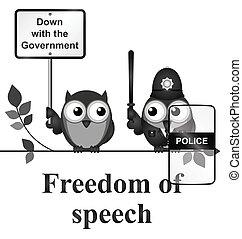 Freedom of Speech - Monochrome comical freedom of speech ...