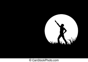 Freedom, people silhouette on black