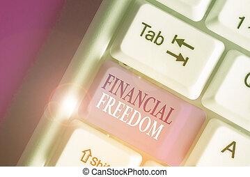 freedom., photo, texte, sans, projection, sur, conceptuel, faire, signe, grand, financier, vie, être, accentué, argent., décisions