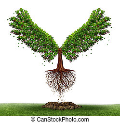 Freedom potential and the power of determination as a business and life concept with a green tree growing open wings and flying off to success as a metaphor for evolving to find opportunity.