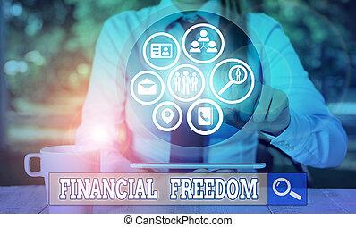 freedom., showcasing, écriture, photo, sans, projection, sur, vie, faire, grand, être, financier, accentué, argent., note, décisions, business