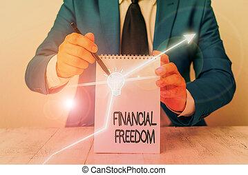 freedom., showcasing, main, photo, écriture, sans, projection, sur, conceptuel, faire, grand, vie, financier, être, accentué, argent., décisions, business