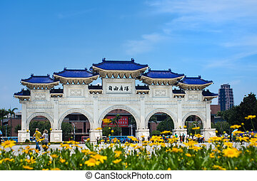 freedom square taipei taiwan, Chiang Kai-shek, Decorated archway, Blue Sky, Yellow Flowers,