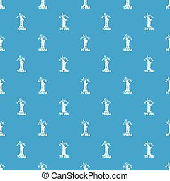 Freedom statue pattern vector seamless blue