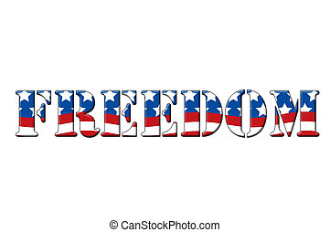 Freedom written in letters in the shape of the American...