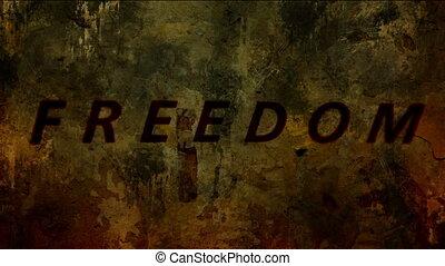 Freedom text on grunge background