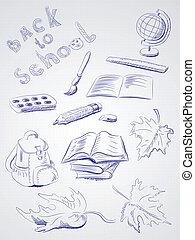 freehand, école, dessin, articles