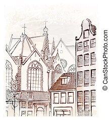freehand, イラスト, アムステルダム, 型