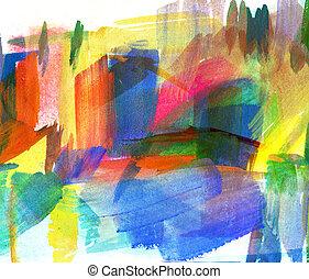 freehand, 떼어내다, painting., 그림, guasch