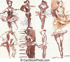 freehand, balé, dançarino,  -, esboçar