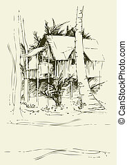 freehand, bungalow, dibujos