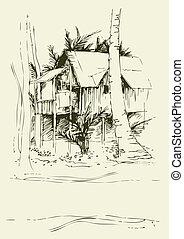 freehand, bungalow, zeichnungen