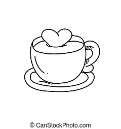 freehand, café, dessin, illustration, tasse