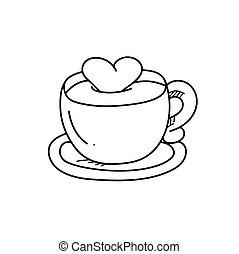 freehand, café, dessin, illustration, tasse