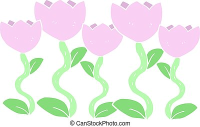 freehand cartoon drawing of flowers