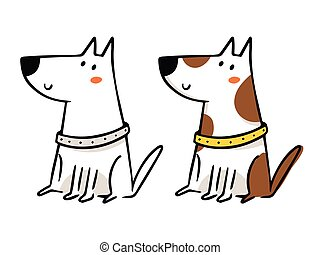 Freehand cartoon vector character, funny dog sketch in monochrome and in color isolated on white