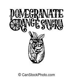 D taill pomegranate grenade main hautement vecteur dessin brindille - Grenade fruit dessin ...